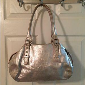 Francesco Biasia Silver Leather Tote Bag